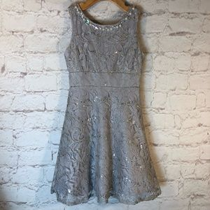 MY MICHELLE SILVER FLORAL LACE BEADED FORMAL DRESS